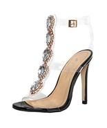 onlymaker Ankle Strap Gem Clear Stiletto High Heels Gladiator Transparen... - $50.11