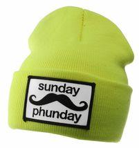 Team Phun Sunday Phunday Neon Orange Pink Yellow Green Skullie Hat Beanie Hat NW image 5