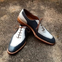 Handmade Men Oxford Two Ton Formal Shoes, Men Black And White Dress Shoes - $159.99