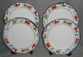 Set (4) American Atelier WINTER VILLAGE PATTERN Dinner Plates - $39.59