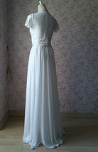 Split Maxi Chiffon Skirt Blue Gray White Wedding Chiffon Skirt Bridesmaid Outfit image 10