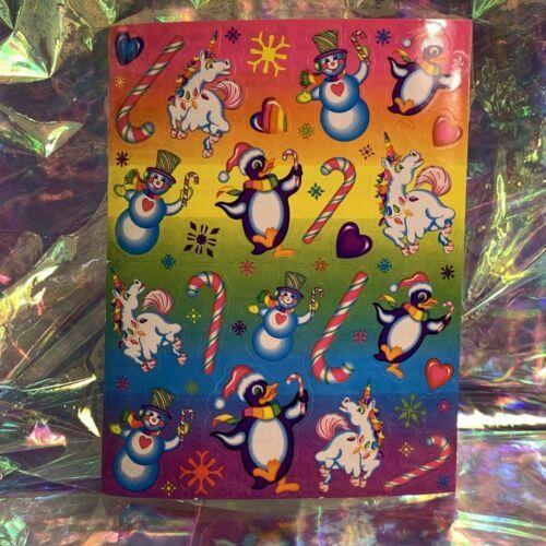 MINT COMPLETE S224 Lisa Frank Christmas Unicorn & Penguins Sticker Sheet ❄️