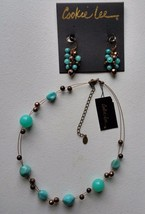 Cookie Lee Genuine Crystal Necklace Earring Set Brown Blue-Green Faceted - $16.83