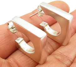 925 Sterling Silver - Vintage Thick Open Square Stud J-Hoop Earrings - E3944 - $30.63