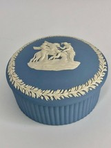 "Wedgwood Blue Jasperware Round Trinket Box With Lid 3.5"" - Made in England - $18.49"