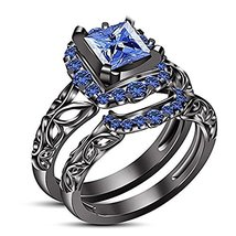 14K Black Gold Over Silver Princess Blue Sapphire Engagement Bridal Ring Set - $119.99