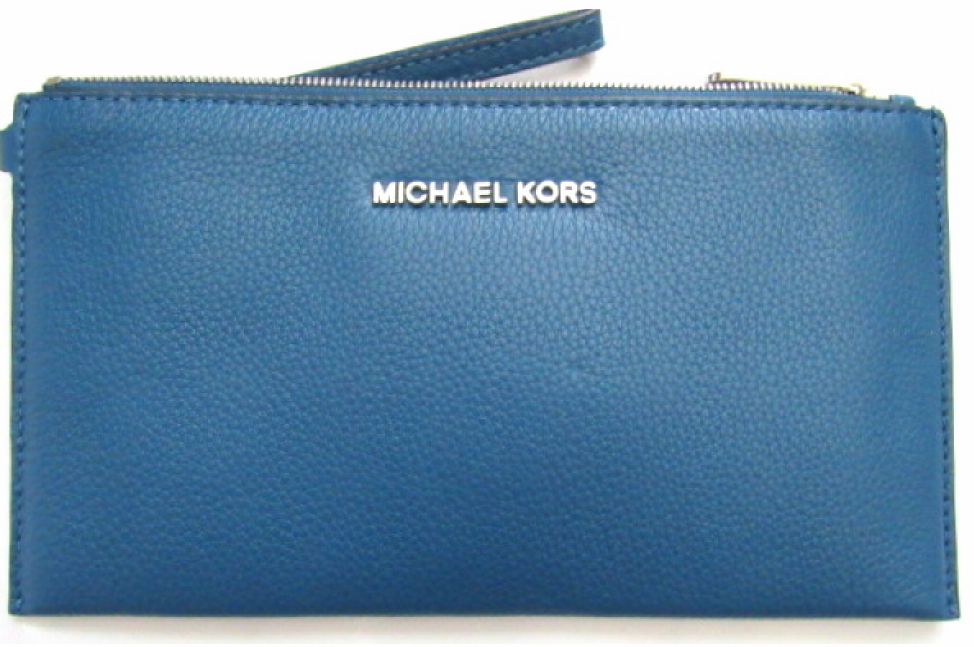 Primary image for NWT MICHAEL KORS BEDFORD STEEL BLUE LARGE ZIP WRISTLET CLUTCH LEATHER