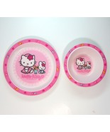 Vintage Sanrio Hello Kitty and Miffy Bunny Pink Plastic Cereal Bowl and ... - $10.99