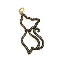 Sterling Silver Natural Diamond Cat Pendant Handmade Pave Vintage Fine J... - $158.16