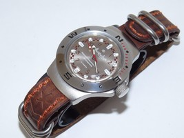 Watch VOSTOK. Russian military Amphibian.The genuine leather strap. 060448 - $65.00