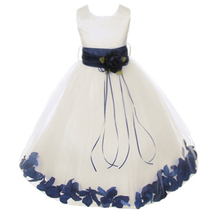 Ivory Satin Bodice Layers Tulle Skirt Navy Blue Flower Ribbon Brooch and Petals - $48.00