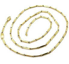 18K YELLOW GOLD CHAIN MINI BONE TUBE LINK 1.5 MM, 20 INCHES, MADE IN ITALY image 1