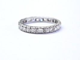 Fine Vintage Old European & Baguette Diamond WG Eternity Band Sz 5.5 1.0... - $1,291.95