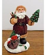 Santa Claus St Nicholas Figurine Holding a Christmas Tree has Sack & Bag... - $8.90