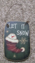 47069litq - Let is Snow Square Wood Ornament - $1.25