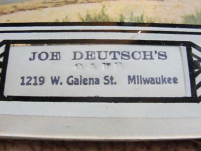 JOE DEUTSCH'S CAFE,MILWAUKEE WI,ADVERTISING GLASS THERMOMETER