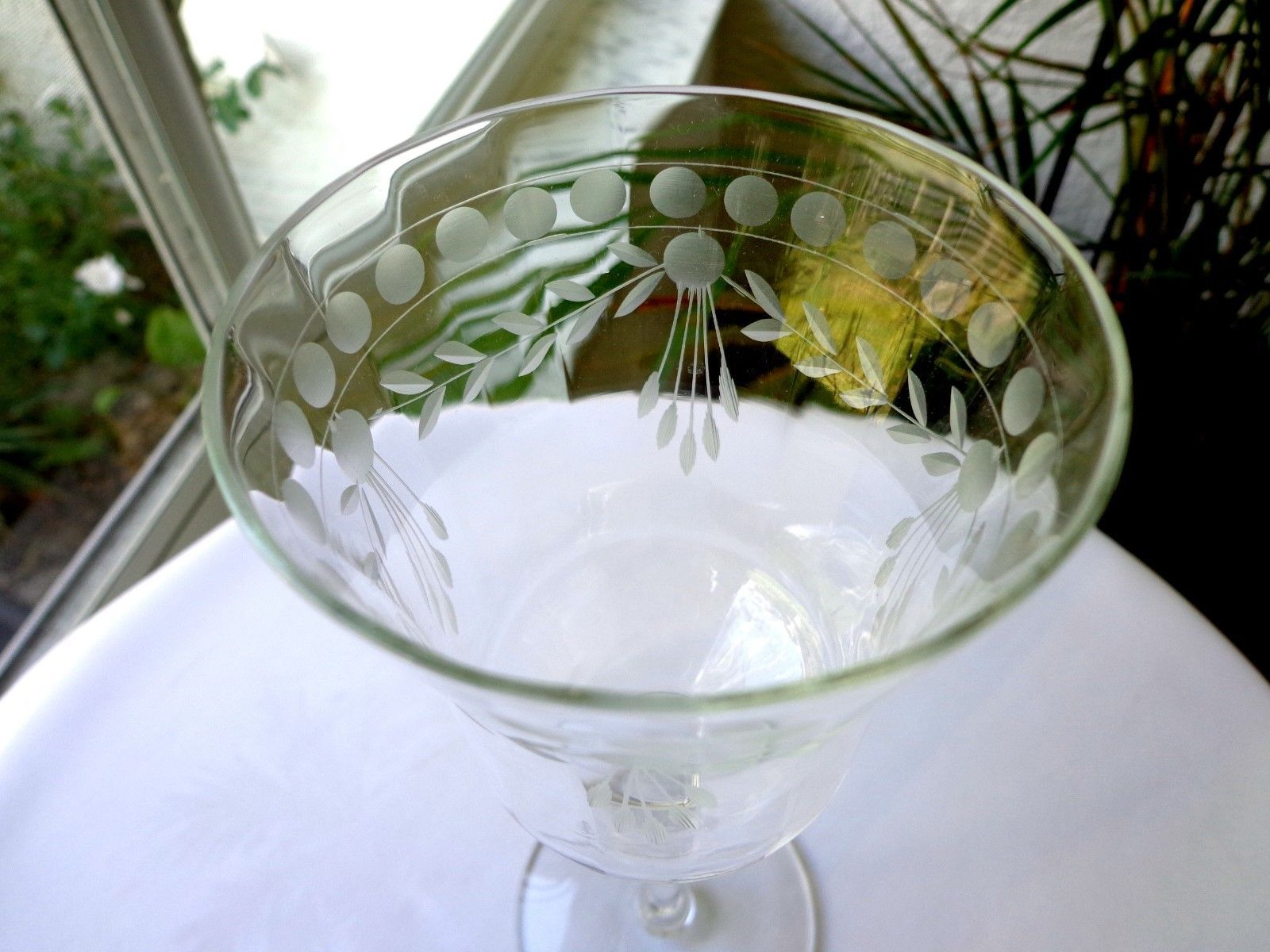 Glastonbury Lotus Clear Crystal Water Goblet c 1940's Cut Dots & Garland