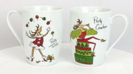 Christmas Holiday Mugs Reindeer Party Coffee Cups White Red Novelty Set ... - $16.78