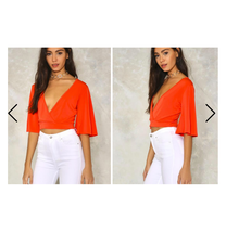 Nasty Gal Wrap Flare Sleeve Crop Top Red Size 6 NWT - $19.79