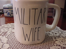 Rae Dunn MILITARY WIFE Rustic Mug, Ivory with Black Letters, New! - $12.00