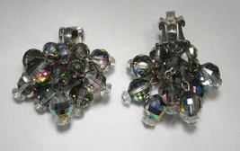 Vintage Laguna AB Crystal Silver Tone Dangle Clip Earrings C1736 - $18.30