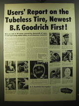 1950 B.F. Goodrich Tires Ad - Users' report on the tubeless tire - $14.99