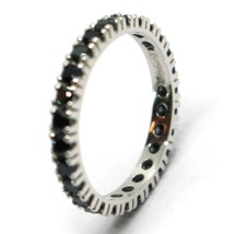 18K WHITE GOLD ETERNITY BAND RING, BLACK CUBIC ZIRCONIA, THICKNESS 3 MM image 2