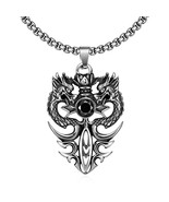 "Fathers Day  Steel Double Dragon Pendant 22"" Chain Necklace - Onyx Stone... - $14.69"