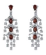 4.00 Carats Garnet Dangle Earrings Sterling Silver Rhodium Nickel Finish - $70.16