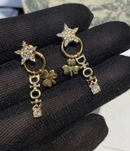 AUTH Christian Dior 2019 CLOVER CRYSTAL STAR HOOP DANGLE GOLD Earrings  image 3