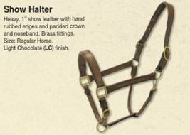 Action Company Leather Halter Light Chocolate Horse Size Padded crown & nose image 4
