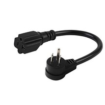 Right Angle 15 Amp to 20 Amp Plug Adapter Cable UL Listed 14AWG (1Foot) ... - $18.25