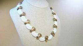 Stunning Renoir Modernist White Enamel Copper Necklace & Earrings Set - $59.99