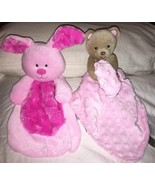 2 Lovey Security Blankets Carters Pink Dot Teddy Bear Rattle & Baby Gear... - $20.78