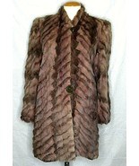 Dyed Faux Fur Jacket Coat Brown Vintage Medium Spotted Padded Shoulders ... - $79.19