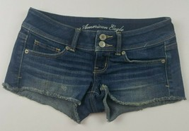 American Eagle Womens Jean Shorts Sz 0 Stretch Booty Cut Offs Dark Wash ... - $25.40