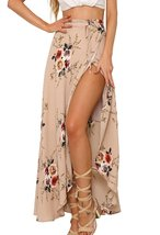 Womens Boho Floral Tie Up Waist Summer Beach Wrap Cover Up Maxi Skirt - $19.89