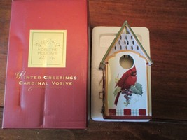 Lenox Village  Winter Greetings Catherine McClung votive tea light Cardinal - $10.88
