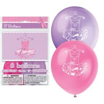 "Pink Ballerina 8 Latex Printed 12"" Balloons Birthday Party Dance - $2.84"