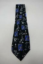 Looney Tunes 1997 Stamp Collection Grey Medley Bugs Bunny Taz Novelty Necktie - $9.49