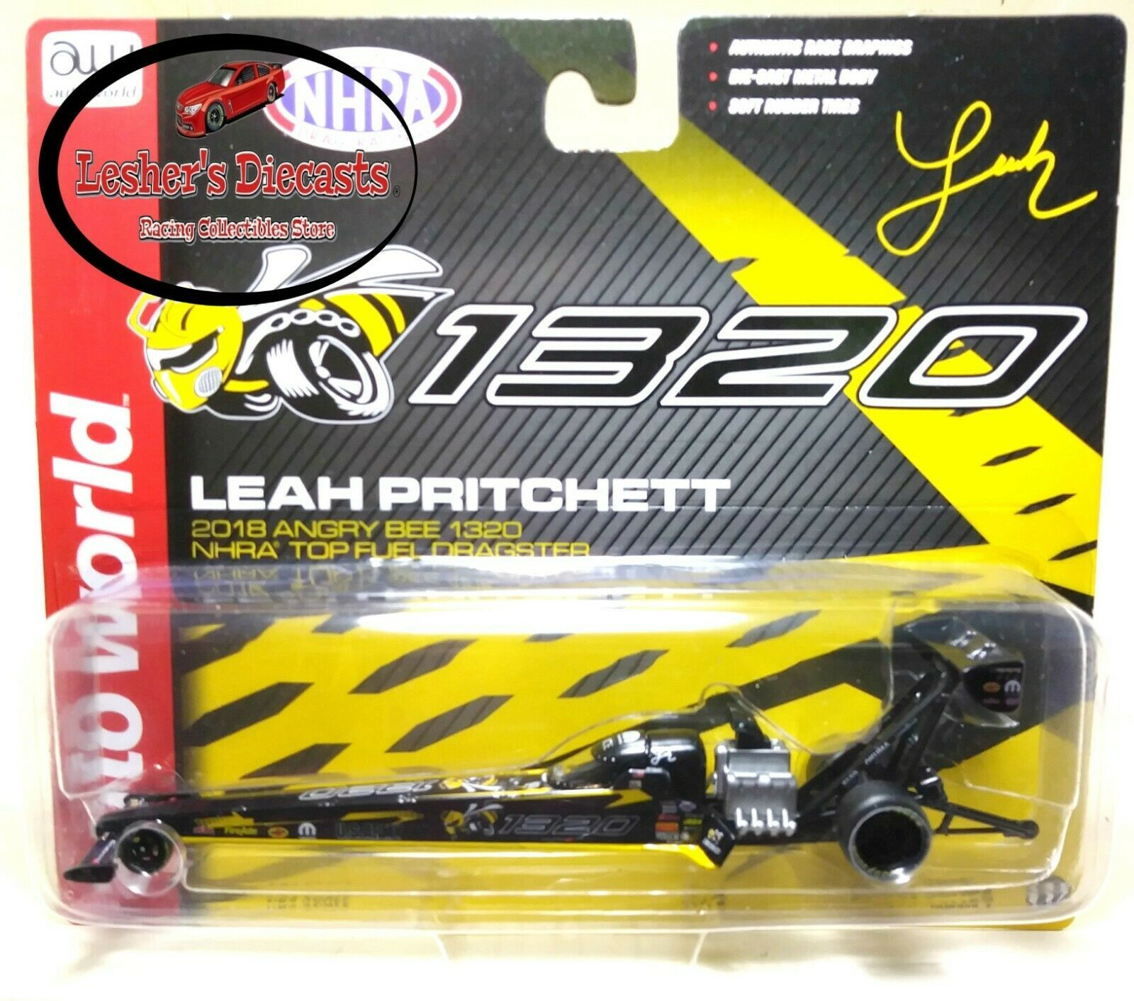 Leah Pritchett 2018 Angry Bee 1320 NHRA Top Fuel Dragster 1:64 Auto World -