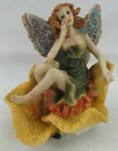 "Vintage Fairy Red Hair on Flower Resin Sculpture Fantasy Figurine 4 1/2""... - $30.00"