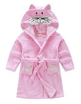 Little Girl's Unisexy Kids Coral Fleece Bathrobe RobePink cat, 2-3THeigh... - $23.56