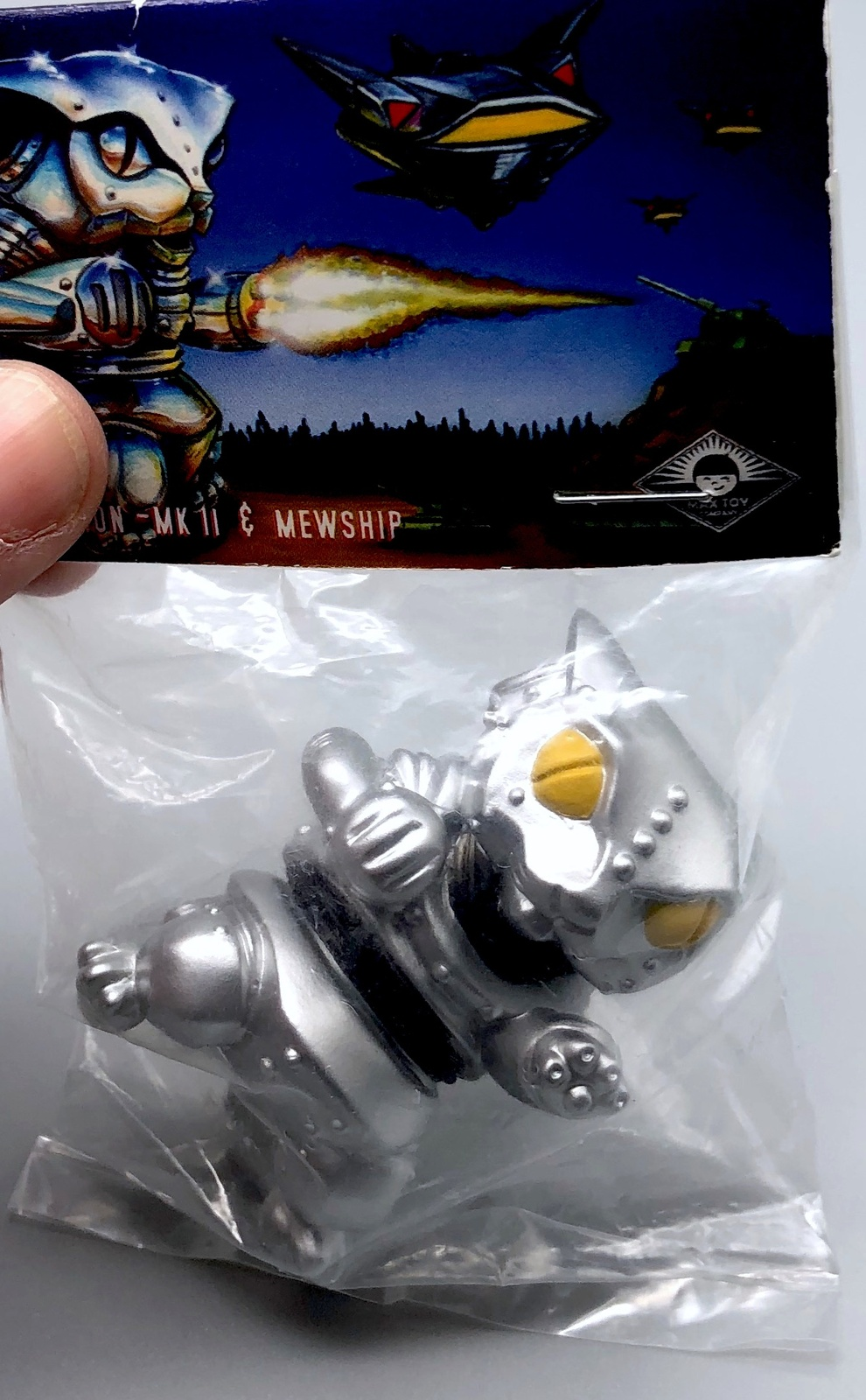 Max Toy Metallic Silver Mini Mecha Nekoron - Mint in Bag
