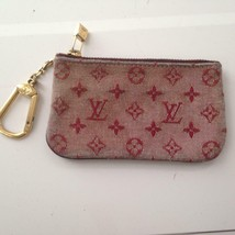 Authentic Louis Vuitton, Mini Lin Red Mono Canvas Coin-Key Case 5in x 3in - $189.95