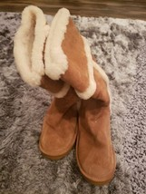 Michael Michael Kors Suede Winter Tall Boots Sheep Fur Lined Size 11M Tan AK12G - $84.14