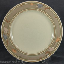 Mikasa Meadow Sun CAC02 Dinner Plate Intaglio Taupe Band Tulips - $14.95