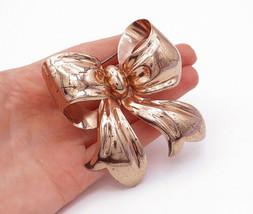 MONET 925 Silver - Vintage Copper Tone Bow Tied Ribbon Brooch Pin - BP4790 - $79.48