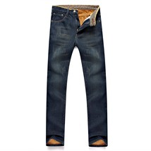 Add Velvet Thick Jeans Men Straight Tube Warm Trousers - $38.76