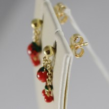 18K YELLOW GOLD PENDANT KIDS EARRINGS GLAZED CHERRY STRAWBERRY MADE IN ITALY image 2
